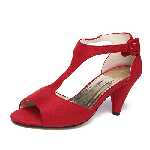 (GATUXUS Women Open Toe Ankle T-Strap Kitten Heel Mary Jane Shoes Mid Heel Sandals for Party Prom (9 B(M) US, Red))