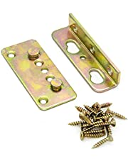 """No-Mortise Bed Rail Brackets Set of 4 -Premium Heavy Duty Rust Proof Frame Bracket for Connecting to Wood with #8 x 1"""" Harden Screws"""