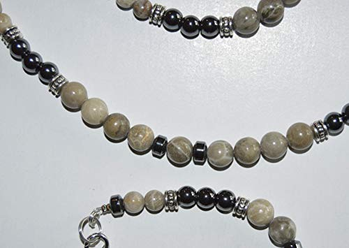 Michigan Gemstone Fossil Coral Jewelry Bracelets Petoskey, Hematite and Favosite stone beaded handcrafted choice of size each one unique