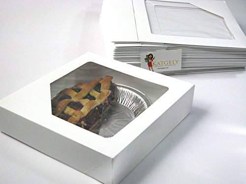Katgely Paper Window Box 8.5x5.3x2 Inches for Cookies, Cakes and Pastries
