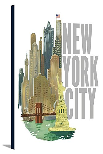 (New York City, New York - Vintage Refurb (24x36 Gallery Wrapped Stretched)