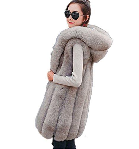 De pelo largo abrigo sin Sintetica Chaleco de Piel Prendas de mangas Gris Chaleco Mujeres Chaleco ❤️ Outwear Longra Escudo w4SRSdq