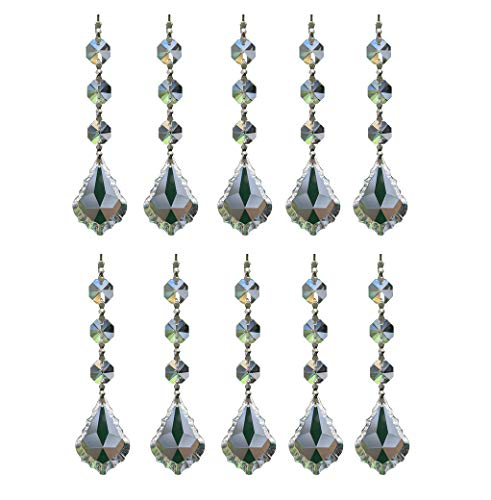 Moooni 10 Pcs Maple Leaf Crystal Chandelier Prisms Large Chandelier Crystals Parts Silver Bow Tie Clip - Leaves Photo European Beads