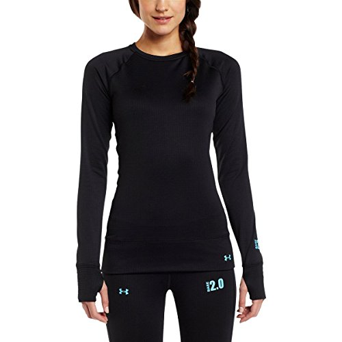 db4481edc8b958 Under Armour Base 2.0 Crew Neck Long Sleeve Shirt - Women's Black/Cortez  Medium