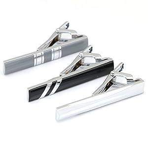 3pc Mens Tie Bar Clip 2.1 Inch, Silver-tone, Black, Gray