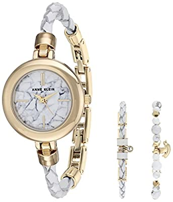 Anne Klein Women's AK/2766HLTE Gold-Tone and White Leather Watch and Bracelet Set
