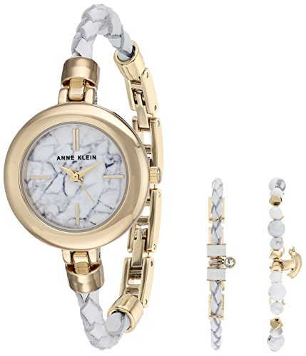 Ann Beaded Bracelets (Anne Klein Women's Quartz Metal and Leather Dress Watch, Color:White (Model:)