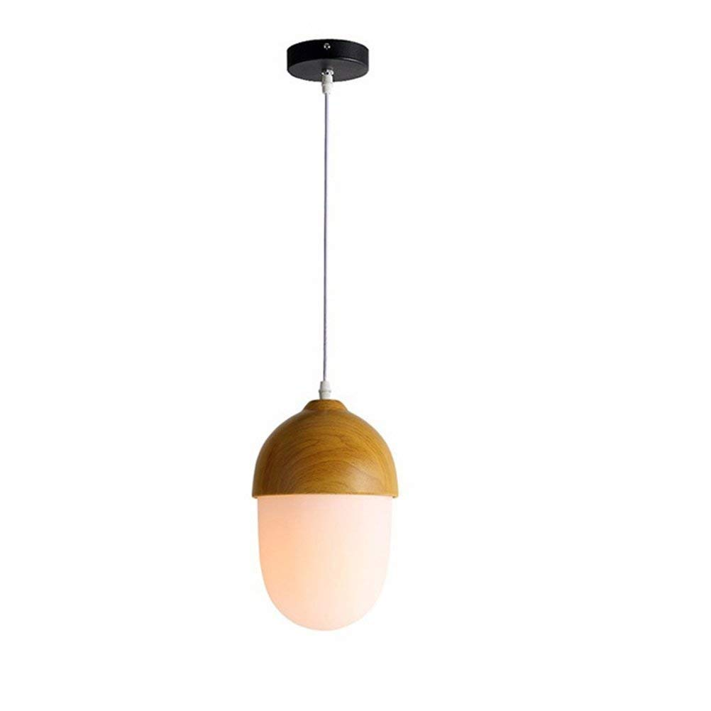 E27 Pendelleuchte Modern Hauml;ngeleuchte Weiss Glas Holz Rahmen Pendellampe Nachttischlampe Wohnzimmer Hauml;ngelampe Schlafzimmer Lampe Esstisch Kinderzimmer Leuchte Oslash;150mm H270mm, Stil D