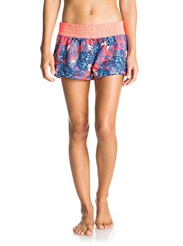 Roxy Women's 2 Elastic Waist Boardshort, Lululah Combo Neon Grapefruit, XS