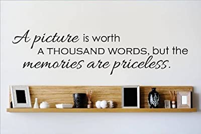 Decal – Vinyl Wall Sticker : A Picture Is Worth A THOUSAND WORDS But The Memories Are Priceless Quote Home Living Room Bedroom Decor DISCOUNTED SALE ITEM - 22 Colors Available Size: 10 Inches X 40 Inches