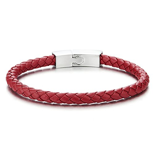 COOLSTEELANDBEYOND Unisex Mens Women Thin Red Braided Leather Bracelet Leather Bangle Wristband, Steel Magnetic Clasp -