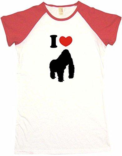 I Heart Love Gorilla Women's Babydoll Tee Shirt Medium-White/Red