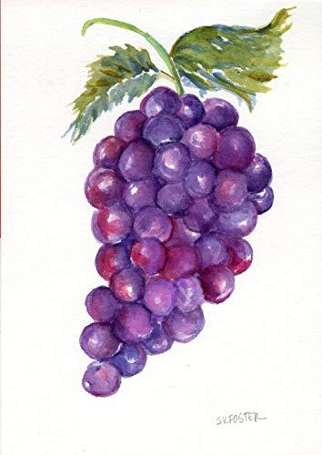 Original Grapes Watercolor Painting art 5 x 7 Farmhouse ()