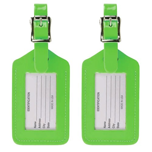 Lewis N. Clark 2-Pack Neon Leather Luggage Tag, Green, One (Green Neon Luggage Tag)