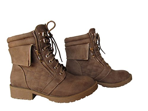 Moda Pluss-1 Womens Patent Lær Militære Vattert Bekjempe Støvler Khaki
