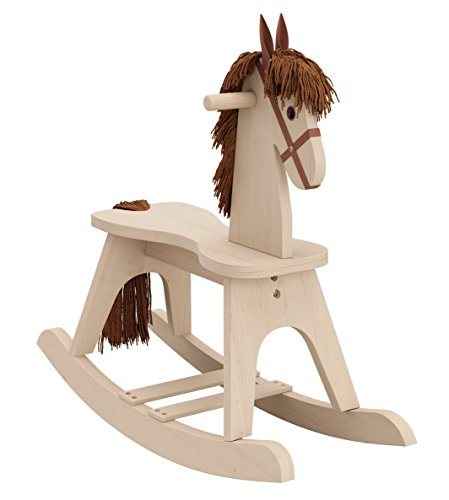 Storkcraft Wooden Rocking Horse, Driftwood, Kids Rocking Horse Chair Ride Toy for Toddlers and Small Children for Nursery & Playroom