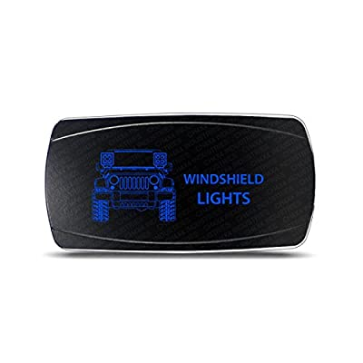CH4x4 Rocker Switch Jeep Wrangler JK Windshield Lights Symbol – Horizontal - Blue LED: Automotive