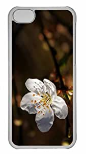 Customized iphone 5C PC Transparent Case - White Cherry Blossoms 2 Personalized Cover