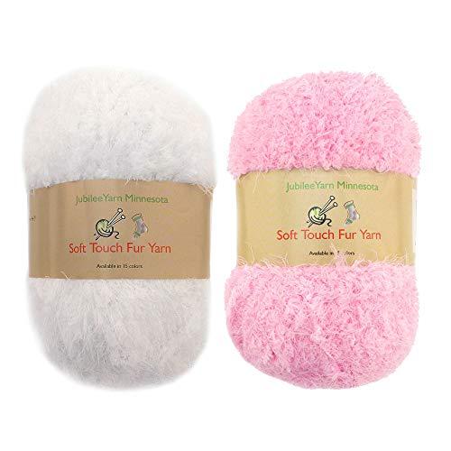 JubileeYarn 100g Soft Touch Fuzzy Fur Yarn Packs, Baby Pink and White, 2 Skeins - Yarn Fur Fancy