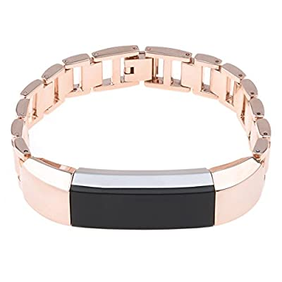 SnowCinda Stainless Steel Watch Band Metal Bracelet for Fitbit Alta, Rose Gold