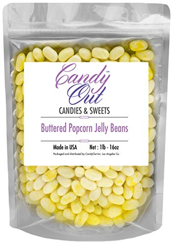 CandyOut Buttered Popcorn Jelly Beans 1 Pound in Resealable Stand up Bag -