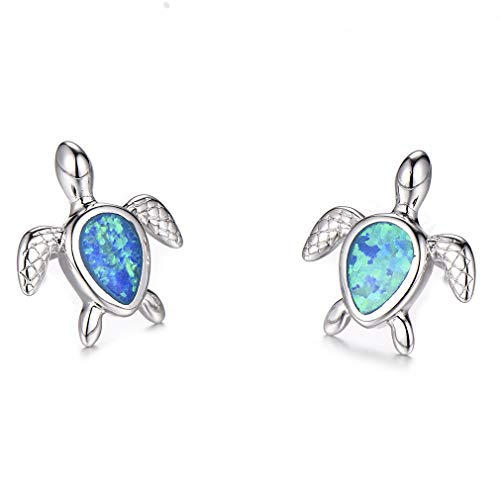 Health and Longevity Sea Turtle Birthstone Jewelry Sterling Silver Created Blue Opal Sea Turtle Earring Rings Pendant Necklace Length 18-20 inch (Earrings -D)