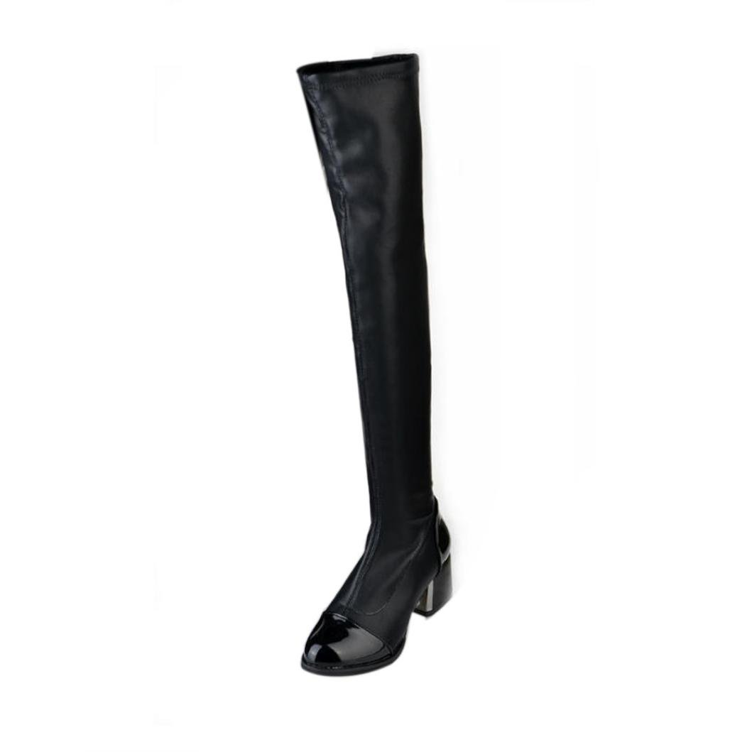 XILALU Leather Over Knee Boots Women Toe Elastic Stretch Thick Heel Boots