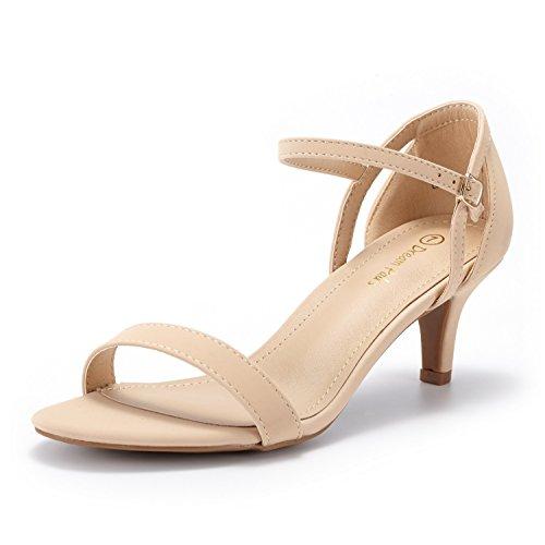 (DREAM PAIRS Women's LEXII Nude Nubuck Fashion Stilettos Open Toe Pump Heel Sandals Size 8.5 B(M) US)