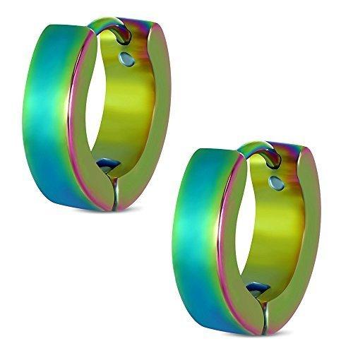 Urban Male Polished Multi-coloured Stainless Steel Hinged Hoop Earrings for Men
