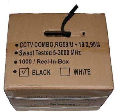 1000 CCTV Cable RG-59U 18//2 Siamese Power//Video Cable Black