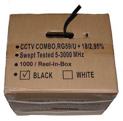 - 1000' CCTV Cable RG-59U 18/2 Siamese Power/Video Cable Black
