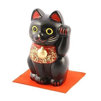 JAPAN CRAFT: Maneki Neko - Gato japonés de la suerte, gato de la suerte L negro - Wards off Evil: Amazon.es: Hogar
