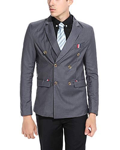 Jacket Double Foncé Party Vestes Boutonnage Blazer Costume À Tuxedo Hommes Gris Coat Retro F51wIW7