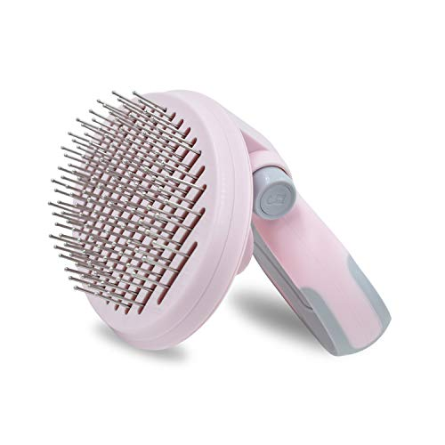 Reopet Self Cleaning Slicker Brush Pet Grooming Brush, Foldable Handle for Multi Angle Combing, Stainless Steel Bristle with Rounded Ends, Perfect Brush for Short and Long Hair Dogs Cats