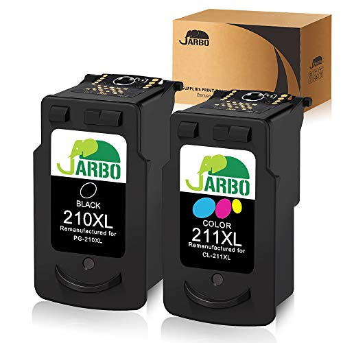 JARBO Remanufactured for Canon PG-210XL CL-211XL Ink Cartridges, 2 Pack (1 Black + 1 Tri-Color), Used in Canon PIXMA MP495 IP2700 MP490 MP480 MP280 MX330 MX340 XM410 MX420 MX350 Printer (Ink Mp495 Canon)