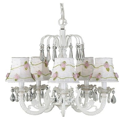 - Jubilee Collection 7077-2164 5 Arm Water Fall White Chandelier with Pink Skirt Dangle Shade