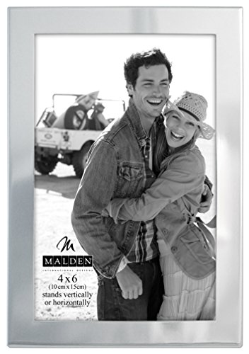 Malden International Designs Essentials Silver Metal Engravable Picture Frame, 4x6, Silver ()