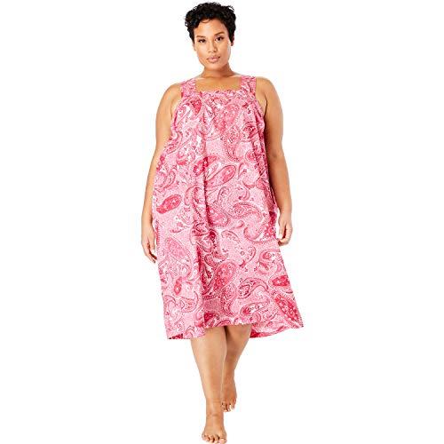 Dreams & Co. Women's Plus Size Print Sleeveless Square Neck Lounger - Raspberry Sorbet Paisley, 5X