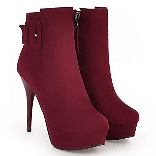 Cherry Bottes Femmes Talon Chaussures Night Claret Bottines Cheville Aiguille pq1wdfd