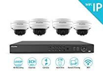 LaView 1080P Wi-Fi Wireless Security Camera System - 8 Channel IP NVR with 2TB HDD, 4 2MP Wifi Dome Indoor/Outdoor, 100ft Night Vision Surveillance System