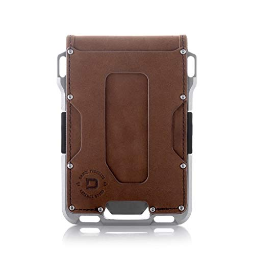 Dango M1 Maverick Wallet - CNC-Machined Aluminum, RFID Blocking, Made in USA (Bifold - Brown Rawhide/Raw Aluminum)