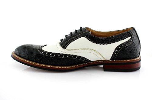 Mens Ferro Aldo 139001b Vetersluiting Getextureerde Toeschouwer Tuxedo Oxfords Jurk Schoenen Zwart