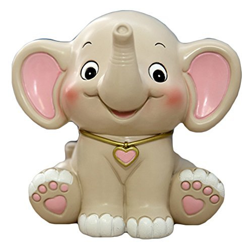 (WAIT FLY Cute Elephant Shaped White Pink Resin Piggy Bank Coin Bank Money Bank Gifts for Lovers Children Home Decoration)