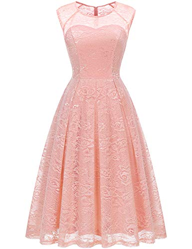 Bbonlinedress Women's Vintage Floral Lace Sleeveless Bridesmaid Dress Formal Cocktail Party Swing Dress Blush L