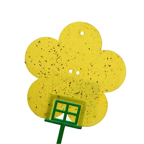 Mighty Catch Flower Sticky Traps,Highly Effective to Trap Flying Insects. No Active Ingredient is Used in The Product. Including 4 Supporting Frame, 4 Extending Pole and 7 Twisted Ties.