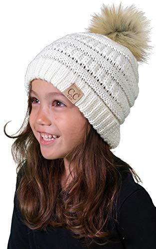 Price comparison product image H-6847-4325 Kids Pom Beanie - Ivory (Faux Fur pom)