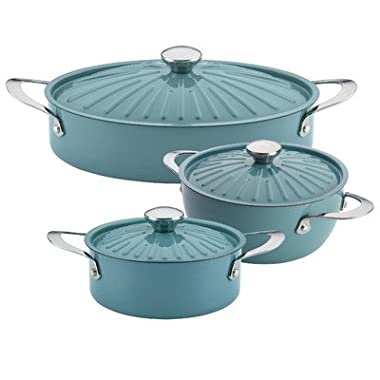 Rachael Ray Cucina Nonstick Cookware 6-Piece Set, Agave Blue