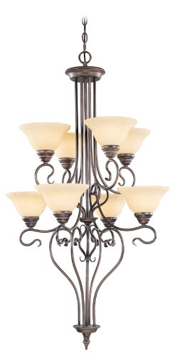 Livex Lighting 6118-58 Chandelier with Vintage Scavo Glass Shades, Imperial Bronze