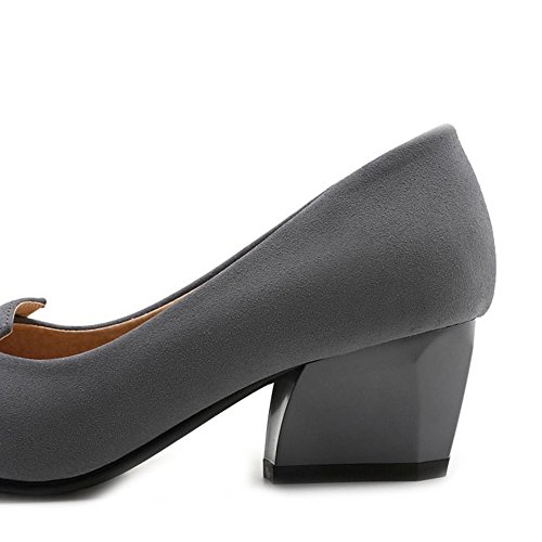 SJJH Large Size Women Court Shoes with Suede Materail and Chunky Heel Comfortable Working Shoes Grey yODU08