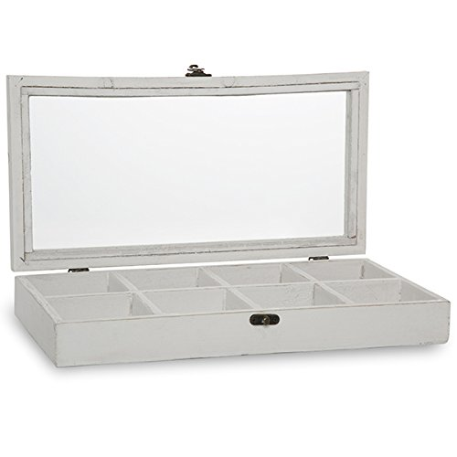 The Lucky Clover Trading Company Rectangular Wood Display Case with Glass Lid, Worn White Basket